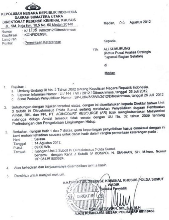 Terkait Kasus Pemalsuan Dokumen Tambang Pt Agincourt