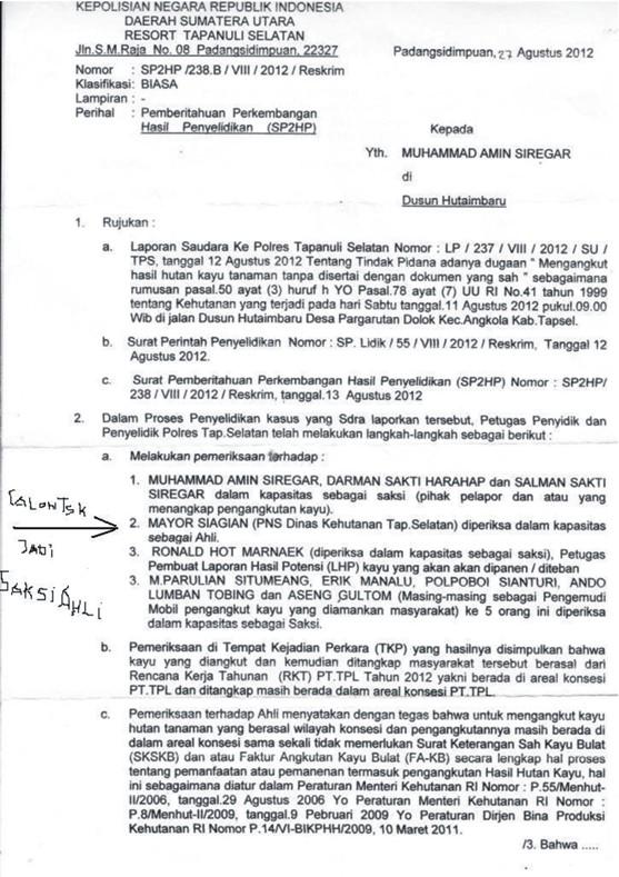 pending 2 Polres Tapsel Pending Proses Hukum Pengaduan Rakyat : Kejahatan Manipulasi Penebangan dan Indikasi Korupsi PT. TPL Berlanjut