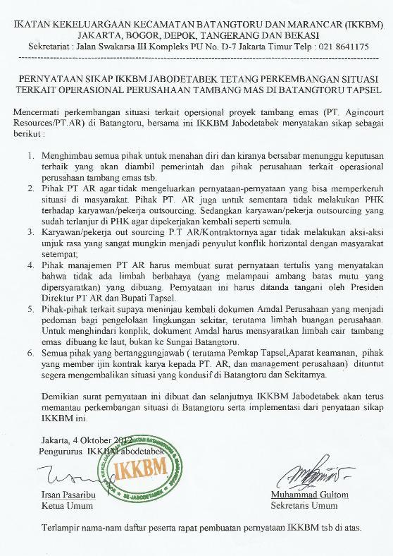 tambang1 Pernyataan Sikap IKKBM Jabodetabek Tentang Perkembangan Situasi Terkait Operasi Perusahaan Tambang Emas Di Batang Toru Tapsel