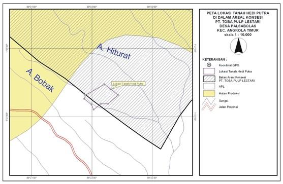 peta Kades Palsabolas Buat Surat Tanah Dalam Areal Toba Pulp Lestari