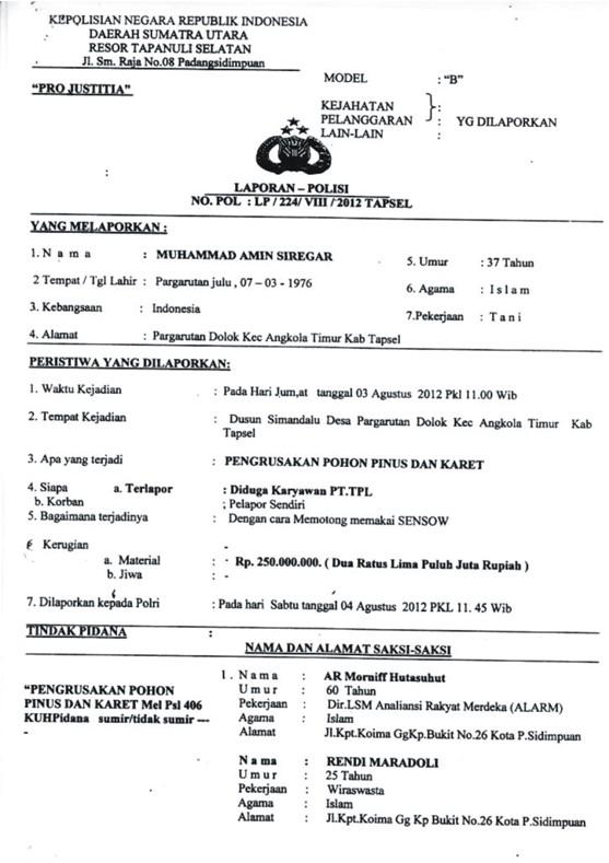 graphic1 Tunggangi Poldasu untuk Ingkari Hak Tanah Rakyat dalam areal Konsesi : PT. Toba Pulp Lestari Kangkangi Surat Bupati Tapsel