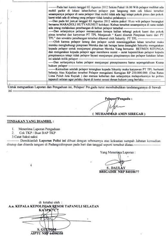 graphic2 Tunggangi Poldasu untuk Ingkari Hak Tanah Rakyat dalam areal Konsesi : PT. Toba Pulp Lestari Kangkangi Surat Bupati Tapsel