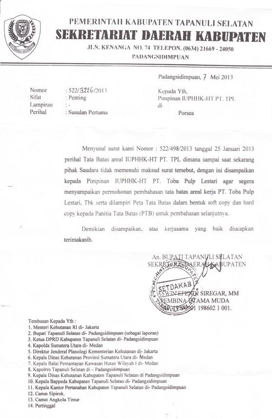 il 7 Ambisi Kuasai 25 Ribu Ha Tanah Rakyat : PT. Toba Pulp Lestari Jadi Pelanggar Hukum di Tapsel
